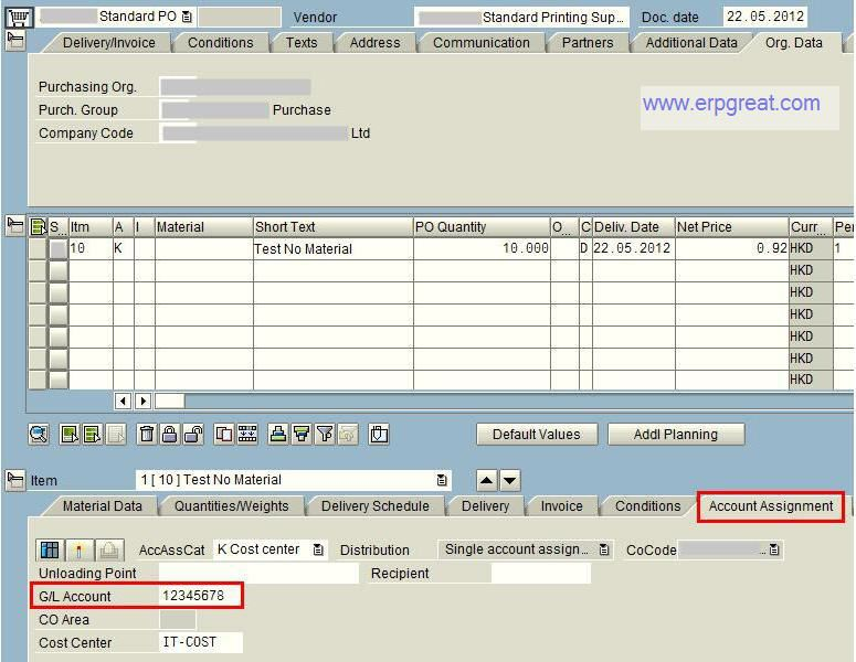 sap purchase order account assignment
